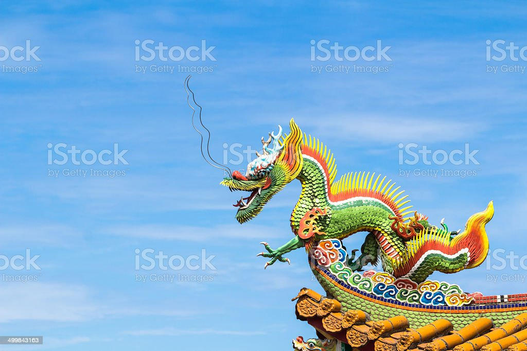 Dragon sculpture on  roof royalty-free stock photo