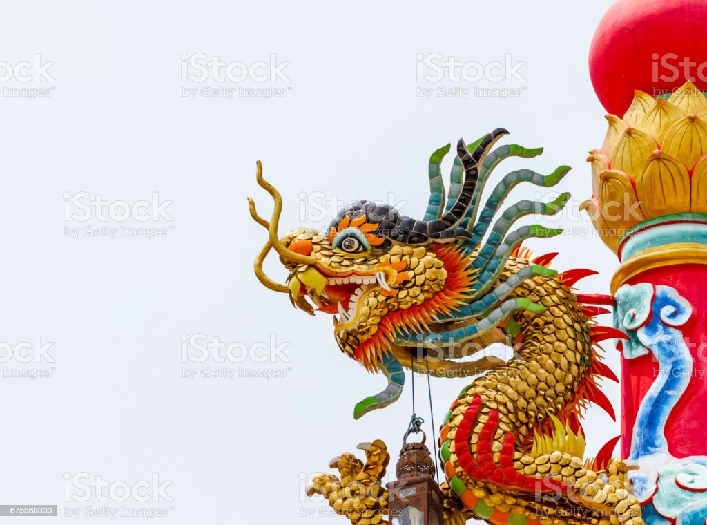 dragon statue on white background Beautiful stock photo