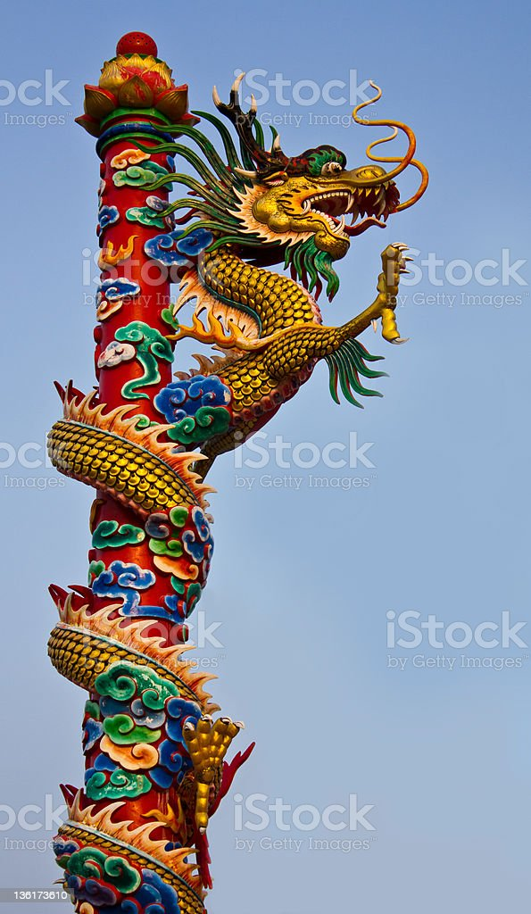 Dragon statue to climb sky high towers. royalty-free stock photo