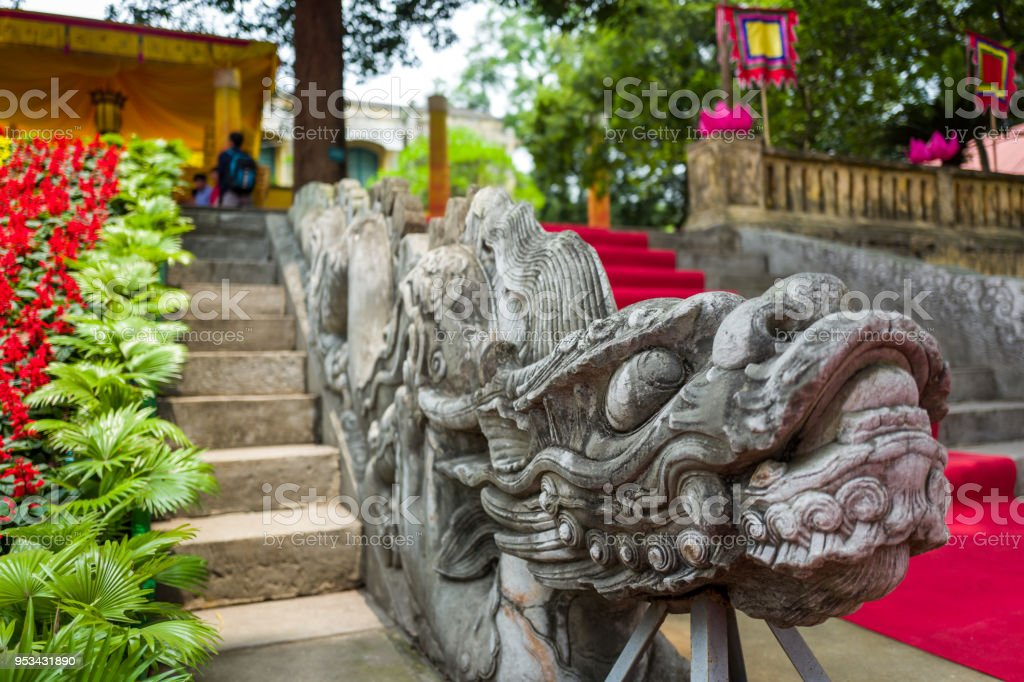 Dragon steps at Thang Long Citadel in Hanoi, Vietnam stock photo