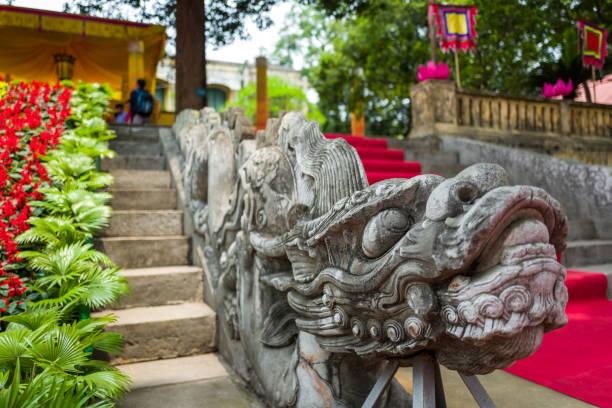 Dragon steps at Thang Long Citadel in Hanoi, Vietnam stock photo