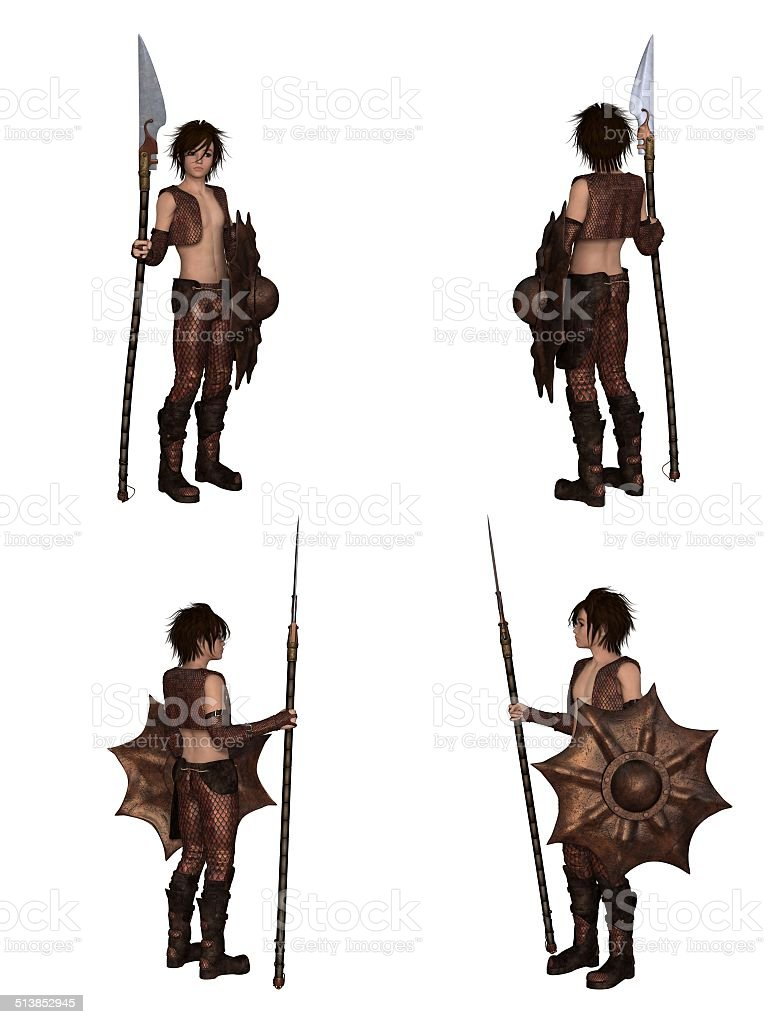 Dragon Warrior Boy Fantasy Character Set stock photo