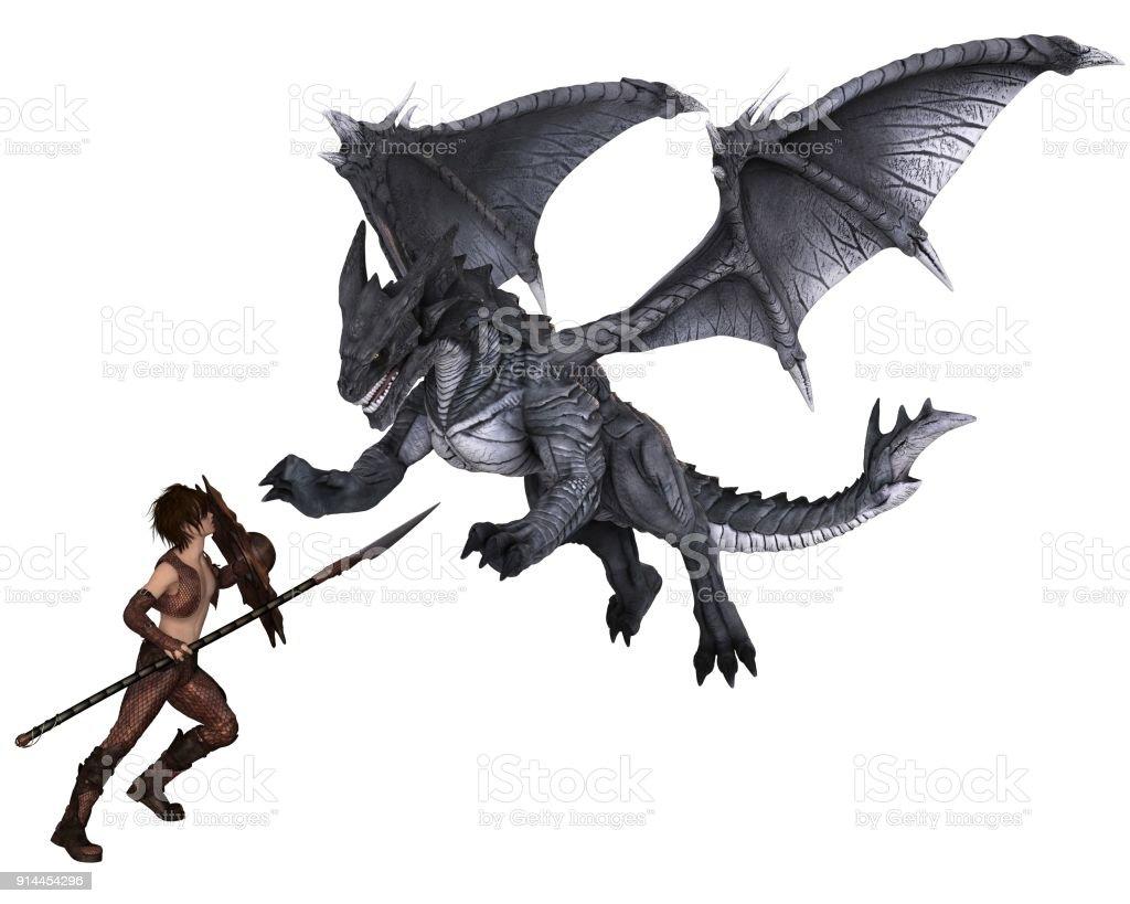 Dragon Warrior Boy Fighting a Dragon stock photo