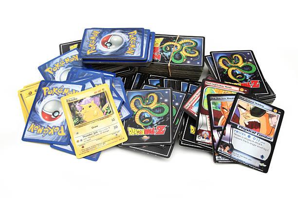 DragonBallZ and Pokemon trading game cards stock photo
