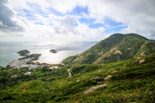 Dragon's Back mountain, best Hong Kong hiking trail. t lies within the Shek O Country Park. stock photo