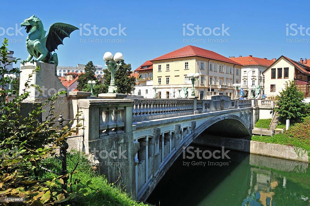Dragon's bridge, Ljubljana, Slovenia stock photo