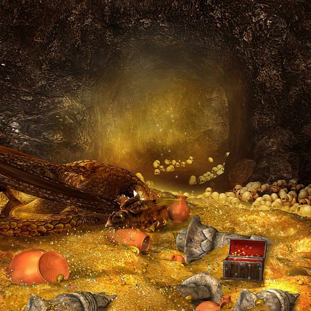 dragon's cave - sleeping illustration stockfoto's en -beelden