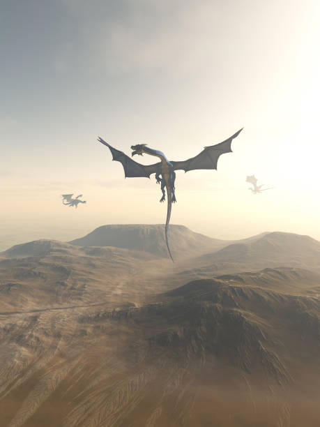 Dragons Circling over a Mountain Landscape Fantasy illustration of a group of dragons flying together over a mountain landscape, 3d digitally rendered illustration dragon stock pictures, royalty-free photos & images