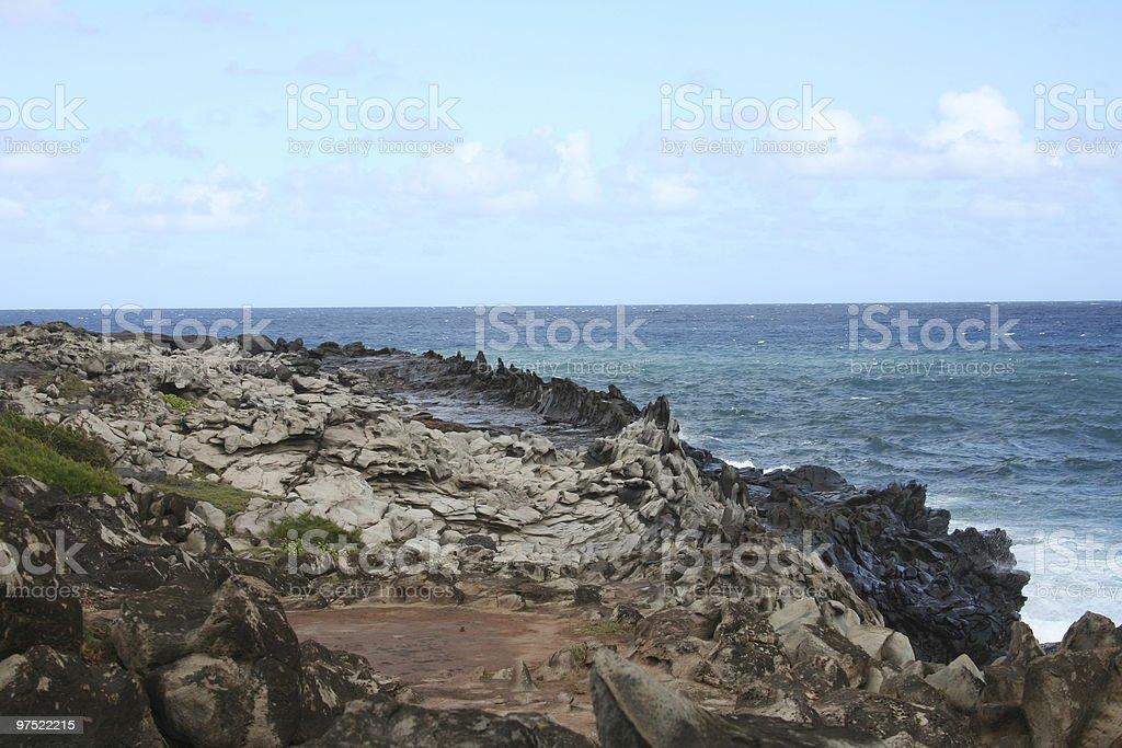 Dragon's Teeth Rocks at Maui Hawaii royalty-free stock photo