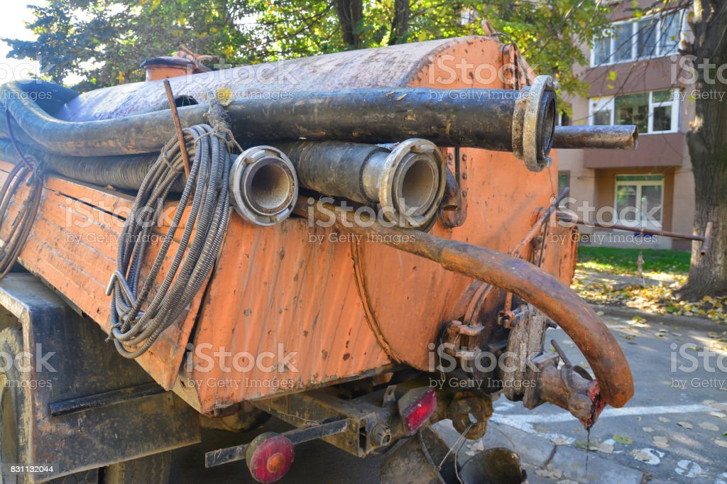 drain cleaning truck stock photo