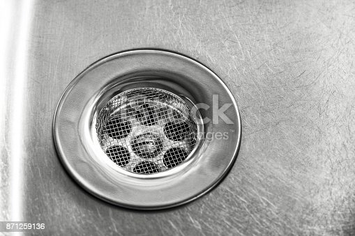 Drain in the sink with sieve