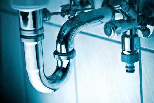 Drain pipe under wash basin - toned image