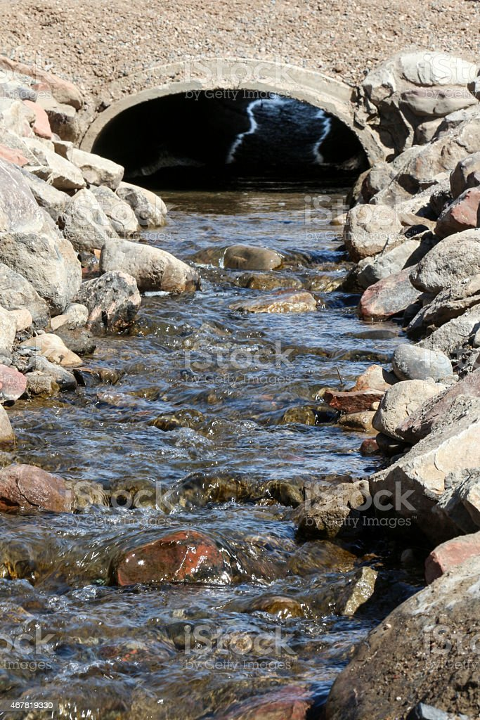 Drainage Ditch going under a driveway stock photo