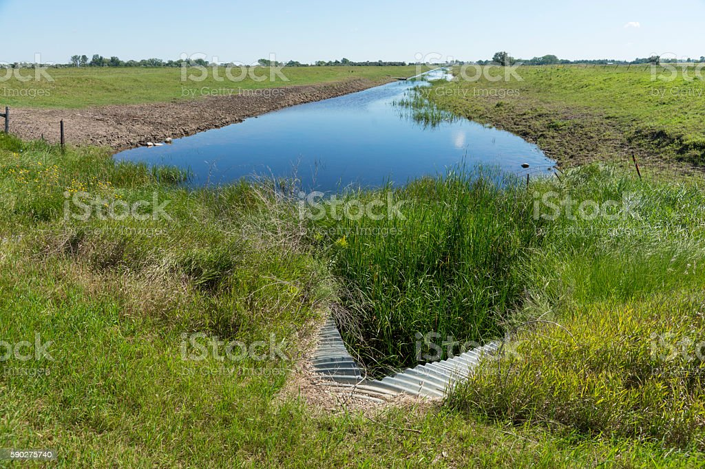 Drainage Ditch with Water on Agricultural Land stock photo