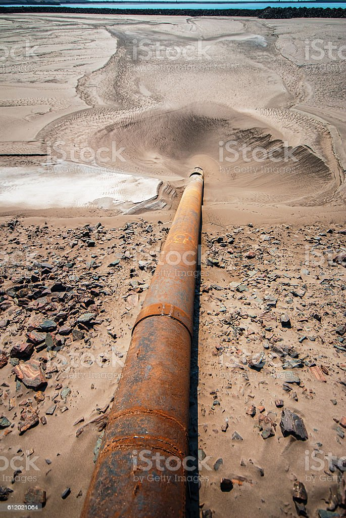 drainage of industrial water stock photo