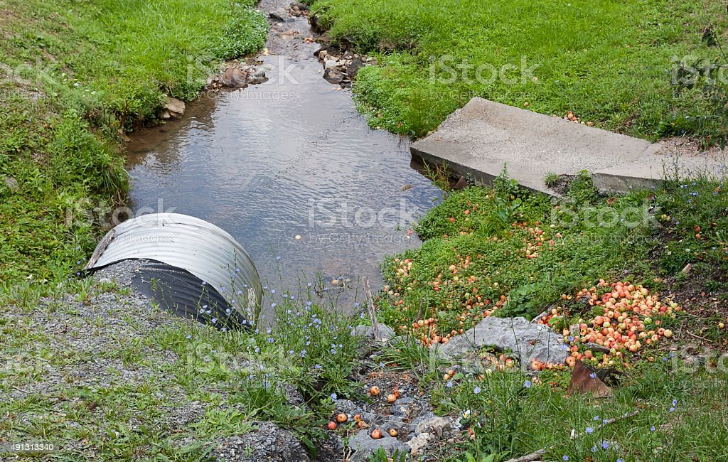 Drainage Pipe Ditch and Scattered Apples royalty-free stock photo & Drainage Pipe Ditch And Scattered Apples Stock Photo u0026 More Pictures ...