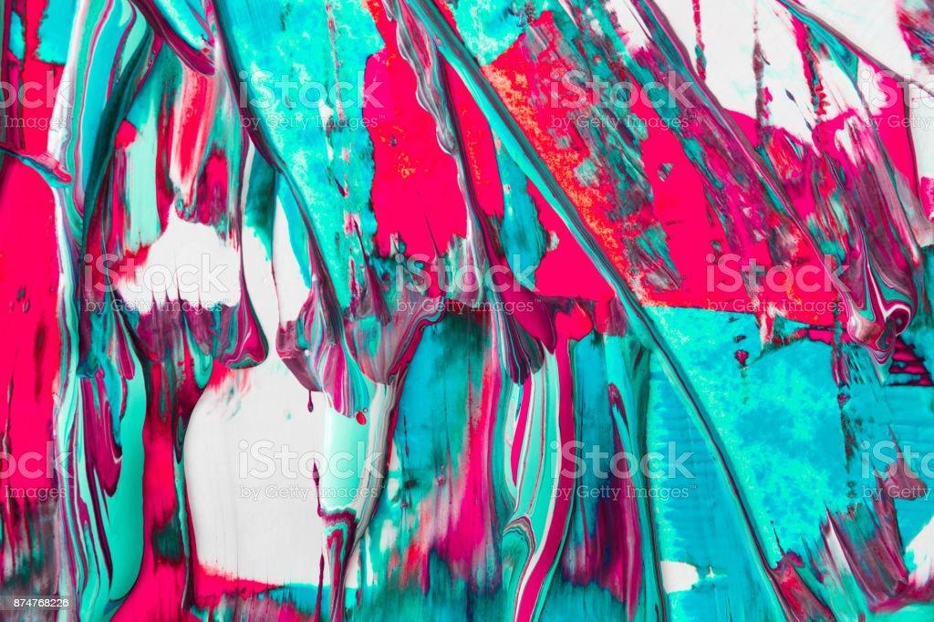 Draining liquid acrylic paint background. Fluid painting abstrac stock photo