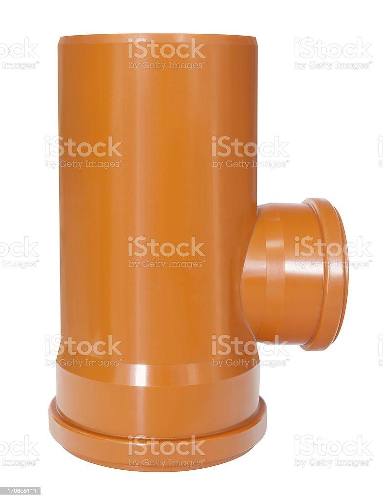 draining tee pipe stock photo
