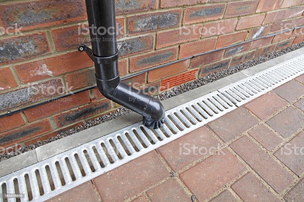 drainpipe and drain gulley stock photo