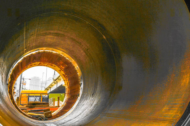 drainpipe and track - civil engineering stock pictures, royalty-free photos & images