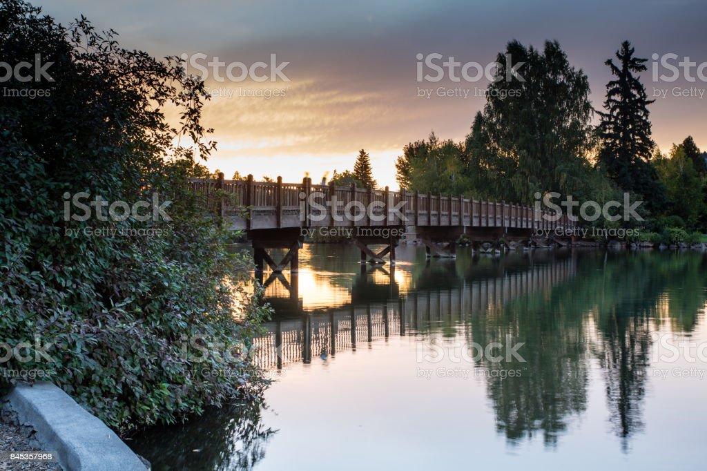 Drake Bridge, Mirror Pond, Bend, Oregon stock photo