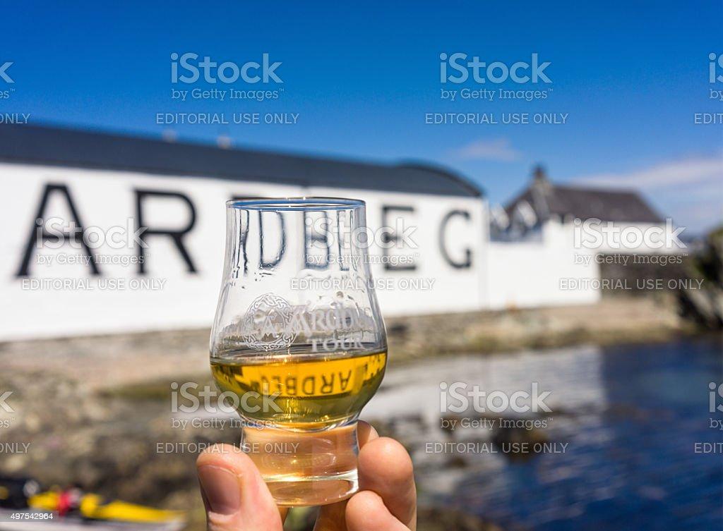 Dram of Ardbeg at the distillery on Islay stock photo