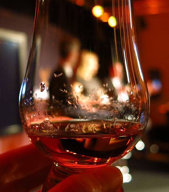 dram of whisky or cognac stock photo