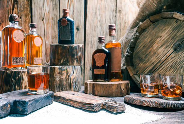 dram shop counter in rustic style - whiskey stock photos and pictures