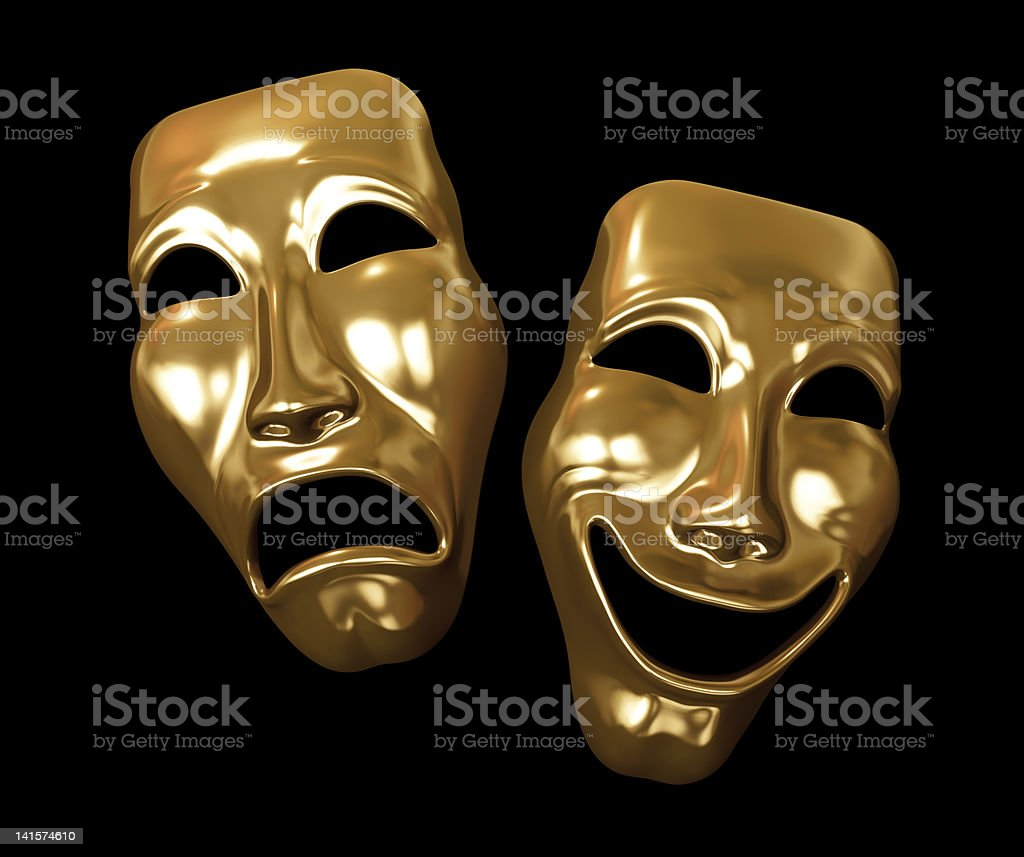 Drama and comedy masks golden stock photo