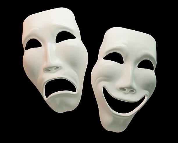 Drama and comedy-theatre symbols stock photo