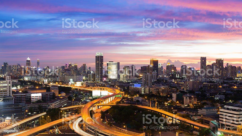 Dramatic after sunset sky,  aerial view highway interchanged royalty-free stock photo