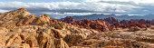 Red rock canyon after storm on desert landscape