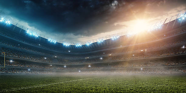dramatic american football stadium - soccer field stock photos and pictures