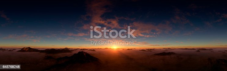 Digitally generated majestic and dramatic dusk/dawn above the clouds panorama.