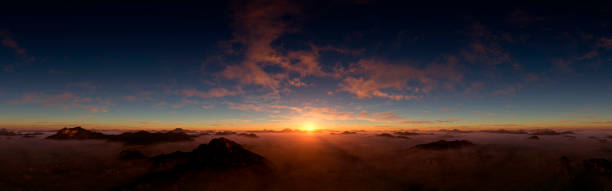Dramatic And Majestic Sunset Digitally generated majestic and dramatic dusk/dawn above the clouds panorama.   horizon over land stock pictures, royalty-free photos & images