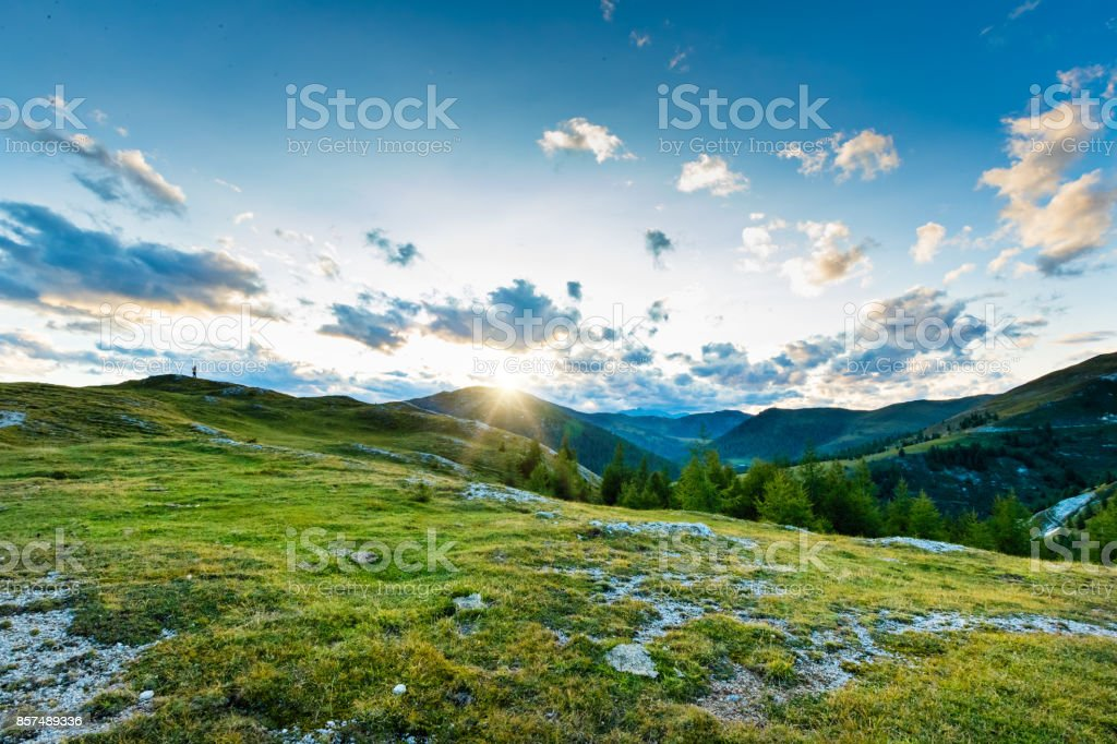 Dramatic and picturesque sunset in Austria Alps stock photo