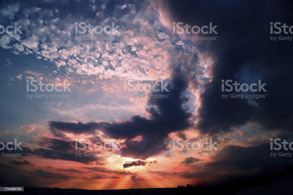 Dramatic apocalyptic red sky royalty-free stock photo