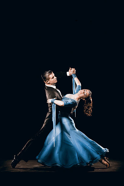 Dramatic Argentinean Dance Couple Competing in Tango Championships stock photo