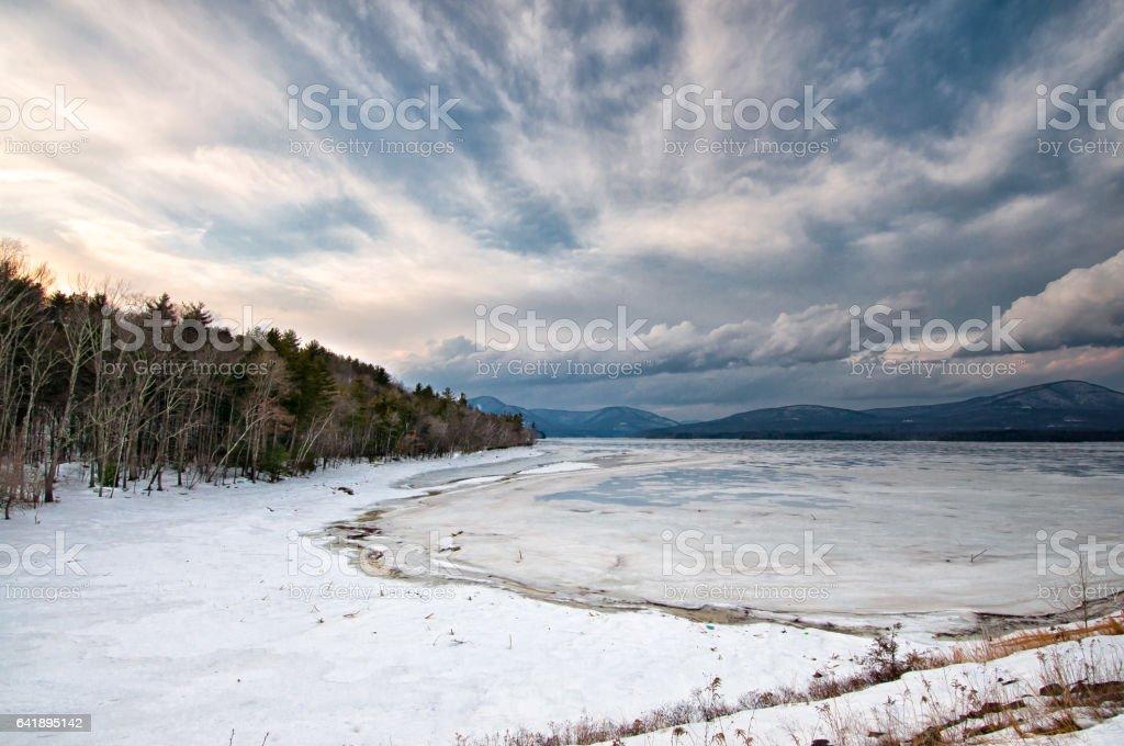 Dramatic Ashokan Reservoir New York Winter Scene. stock photo