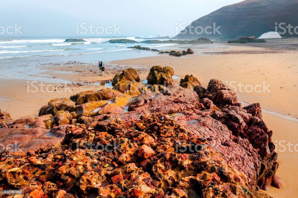 Dramatic Atlantic Ocean beach,,Legzira, Sidi Ifni, Morocco, North Africa. stock photo