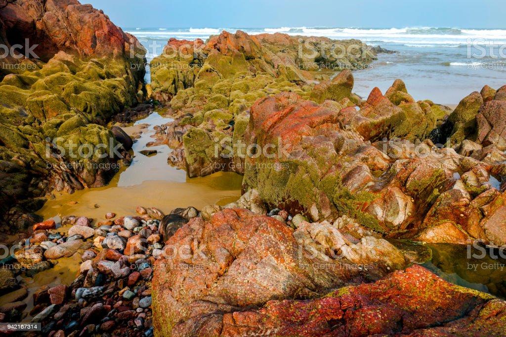 Dramatic Atlantic Ocean beach,,Legzira, Sidi Ifni, Morocco, North Africa stock photo