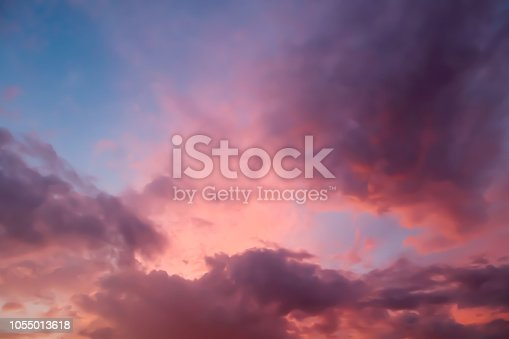 Dramatic atmosphere panorama view of tropical beautiful twilight sky and clouds background in summer.