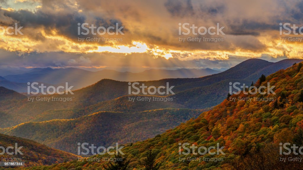 Dramatic Autumn Sunset on the Blue Ridge Parkway near Brevard North Carolina stock photo