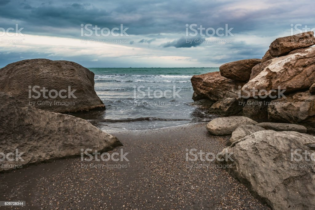 Dramatic beautiful seascape stock photo