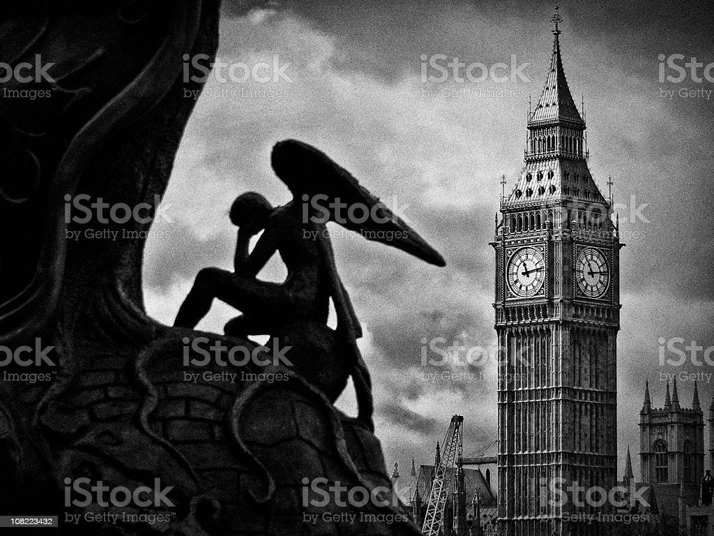 Dramatic black and white image of Big Ben, London royalty-free stock photo