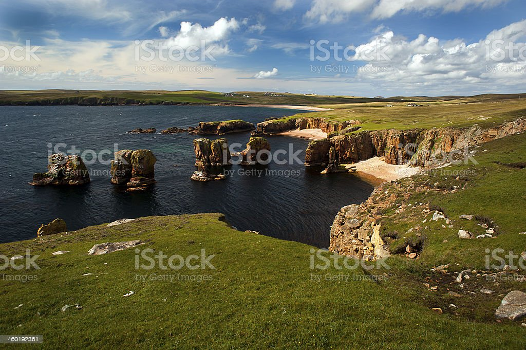 Dramatic Cliffs of Eshaness, Shetland Islands stock photo