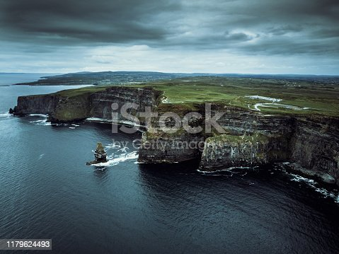 Areal view towards the beautiful and famous Cliffs of Moher under windy dramatic skyscape. Burren Region, County Clare, Ireland