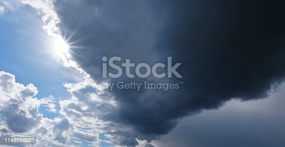 istock Dramatic cloud mood before a heavy storm, Global warming, Thunderstorms 1145186001