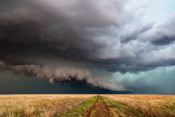 Dramatic clouds and stormy sky with a thunderstorm stock photo