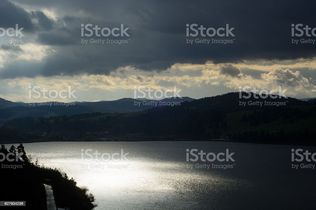 Dramatic clouds and water landscape stock photo